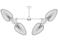 Double Ceiling Fan 48 or 56 inch Sweep Configuration