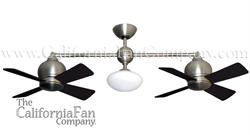 Metropolitan Double Ceiling Fan Satin Steel 2 x 24